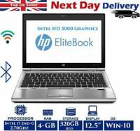 "HP EliteBook 2540p 12.5"" Laptop Intel i7 2.70Ghz 4GB RAM 320GB HDD Windows 10"