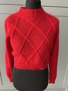 ST MICHAEL M&S Red Chunky Knit Crop Jumper Sweater Acrylic Mohair Wool Size 14
