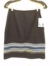 6139)  NWT LIZ CLAIBORNE sz 2P 2 black blue stripe cotton straight skirt at knee