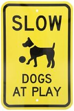 "SmartSign Aluminum Sign, Legend ""Slow - Dogs at Play"" with Graphic, 18"" high x 1"