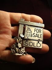 Pin - For Sale/Sold Sign w Flowers around the Base of Post_Pewter by J.J. (297)