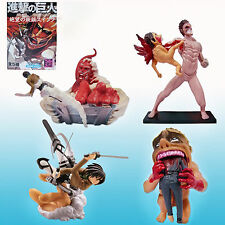 Kaiyodo Capsule Q Characters Anime Attack on Titan Scene PVC Figure Toy 4PCS Set