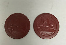 [69130] LOT OF 2 VINTAGE MAROON CLAY POKER CHIPS