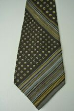 Yves Saint Laurent Men's Dress Neck Tie 100% Silk Brown Polka Dot/Striped #1008