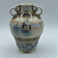 Nippon Ship Scene Morimura Black Gold Trim Antique Hand Painted Moriage Vase