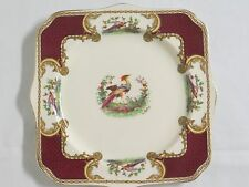 Myott Staffordshire CHELSEA BIRD RED Maroon Square Luncheon Art Deco Plate