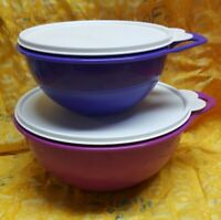 TUPPERWARE THATS A BOWL PAIR 1.4LT AND 2.75LT PURPLE PINK PREOWNED