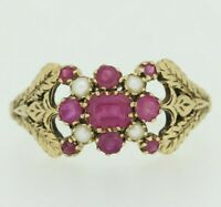 9ct Gold Ring - 9ct Yellow Gold Ruby & Pearl Ring Size O 1/2