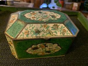 Floral pattern decorative vintage tin Metal Box Company England pre owned