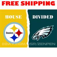 Pittsburgh Steelers vs Philadelphia Eagles House Divided Flag Banner 3x5 ft NEW