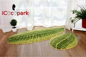 Green Leaf Shaped Bathmat Living Room Carpet Bedroom Washable Floor Rugs Carpets