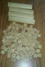 Scrabble 100 tiles 4 holders wooden letters used wood tile crafts set STAINED