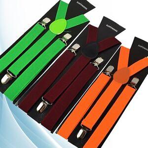 Candy Color Suspenders Men 3 Clip Buckle for Women Belt Strap Adjustable Shirts