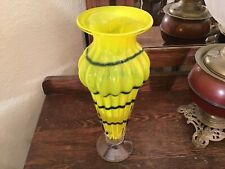 Lot# 1602. Vintage Hand blown yellow ribbed Vase