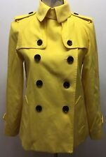 Coach Yellow Short Trench Coat Double Breasted XS Cotton Light Jacket Lined