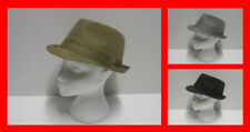 Men's Dogtooth Pattern Trilby Fedora Hat Cap Black Brown Grey