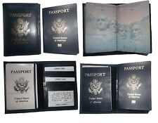 4 New USA Leather passport case, wallet credit ATM card case ID holder Navy Blue