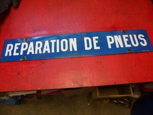 plaque émaillée garage ancien réparation de pneus michelin shell energol motul