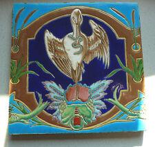 ABSOLUT SELTEN! Jugendstil Fliese art nouveau tile tegel Schwan mit Regenwurm!