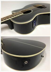 3/4 Size Acoustic Bass Guitar,Haze FB-711BCEQ/BK 4-String,EQ,Black+Free Gig Bag