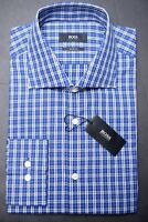 Hugo Boss Men's Miles Sharp Fit Blue Plaids Cotton Dress Shirt New 16 34/35