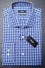 NWT Hugo Boss Men's Miles Sharp Fit Blue Plaids Cotton Dress Shirt 16 34/35
