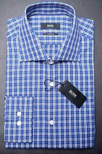 Hugo Boss Men's Miles Sharp Fit Blue Plaids Cotton Dress Shirt New 16 34/35