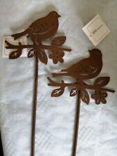 Beetstecker Vogel 2 Stück Metall Garten Stecker Amsel Dekoration Spatz Edelrost
