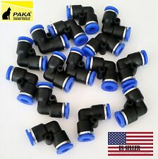 10x Tube OD 6mm 1/4'' 6mm Elbow Union Pneumatic Quick Connector Air Fittings