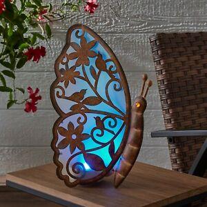Better Homes & Gardens Solar Powered Butterfly Light Up Metal Garden Decor LED