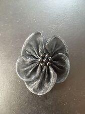 "LOT OF 5 Organza Rose bow Black Craft sew fabric flower bow Rose bud ribbon 2"""