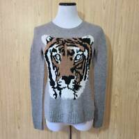BCBGMAXAZRIA Womens Wanda Pullover Sweater Gray Tiger Long Sleeve Crew Neck XS