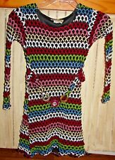 LES TOUT PETITS GIRLS SIZE 12 GORGEOUS COLORFUL SWEATER DRESS WITH BELT