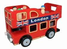 NEW BUBBADOO WOODEN LONDON DOUBLE DECKER TOY BUS