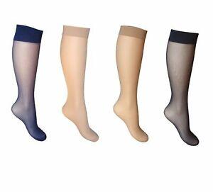2 Pairs Silky Soft Sheer Comfort Top Knee Highs 15 Den Trouser Socks 10 colours