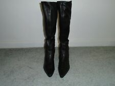 Stuart Weitzman Black Leather Stretch Boots Size 6