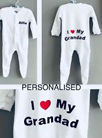 Funky PERSONALISED unisex baby clothing I love Grandad, Mummy Daddy Grandma gift