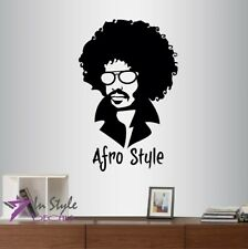 Vinyl Decal Afro Style Stylish Man in Glasses Face Barber Shop Wall Sticker 1430