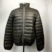 NWOT Original Vintage Style 365 Dark Brown Solid Down Puffer Jacket Mens Size XL
