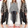 Women Leopard Print Casual High Split Crop Tops Long Maxi Shirt Dress  Blouse