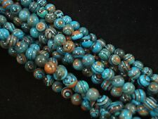 Gemstone Beads Turquoise Lace Malachite 8mm Round Beads 35cm Strand FREE POSTAGE