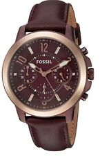 WOMENS FOSSIL ES4116 GWYNN CHRONOGRAPH MAROON WINE LEATHER ROSE GOLD WATCH
