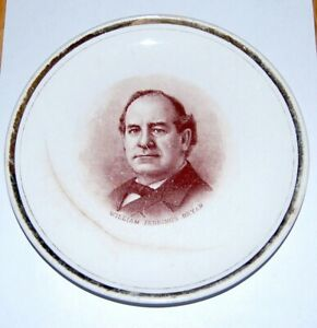 WILLIAM JENNINGS BRYAN PLATE CHINA DRESDEN campaign pinback pin button political