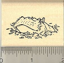 Hippo rubber stamp D9513 wood mounted hippopotamus