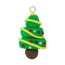 10PCs Green Polymer Clay Christmas Tree Pendants Charms