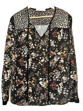 Oui, Foral & Leopard Print Tunic, Long Sleeves, UK12, EU38