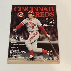 JOHNNY BENCH  Hand Signed On Cover Cincinnati Reds Magazine