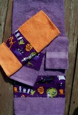 "Halloween ""NIGHTMARE BEFORE CHRISTMAS"" BORDER 4 Piece Towel Set Purple/Orange"