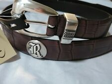 Men's Brown Leather Belt with Rice University Conchos Size 44 R
