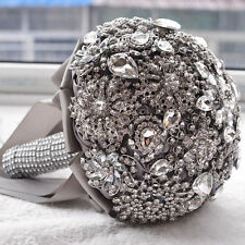 New Crystal Wedding Bouquet SILK Ribbon Hand Holding Bridal Flowers Posy Brooch